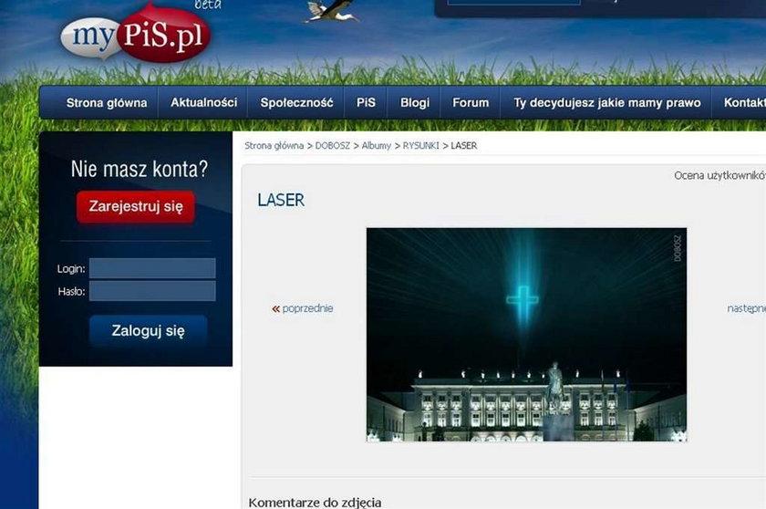 Laserowy krzyż zamiast pomnika przed Pałacem?