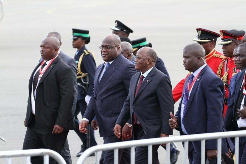 Tshisekedi being received by Tanzanian President John Magufuli. (EDGE)
