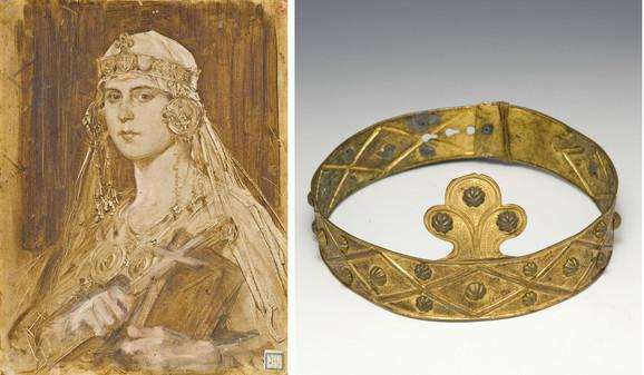 Levo: Muni kao srednjovekovna vladarka; desno: Kopija sevastokratorskog venca iz Pajinog studija koju je koristio kao rekvizit