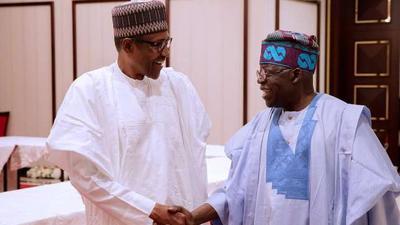 President Muhammadu Buhari and Asiwaju Bola Tinubu meet at the villa