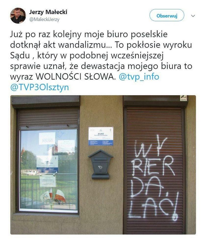 Atak na biuro posła PiS. Wulgarny napis