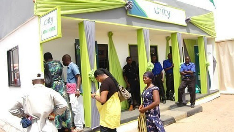 Customers using Unity Bank Plc ATM