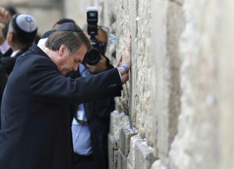 Bolsonaro visits the Wailing Wall during a visit to Israel earlier this month