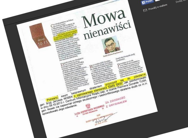 """""""Uważam Rze"""" pozwane przez SKW (fot. www.uwazamrze.pl)"""