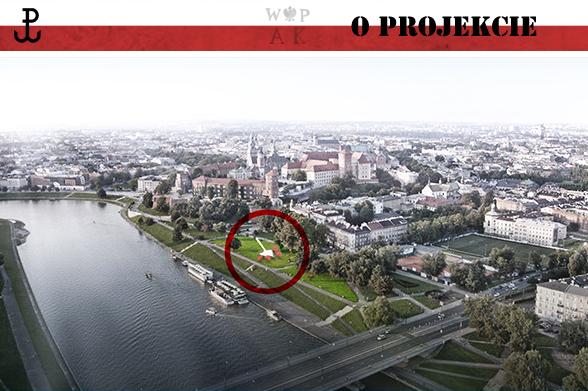 Na projekcie zaznaczono miejsce, w którym ma powstać pomnik AK