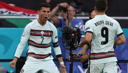 Ronaldo celebrates his record-breaking 10th European Championship goal Creator: Alex Pantling