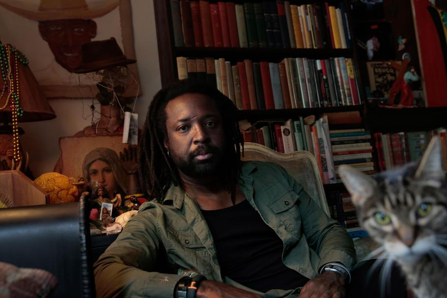 "HARLEM, NEW YORK--SEPT. 20, 2014--Author Marlon James, author of the new novel ""A Brief History of S"