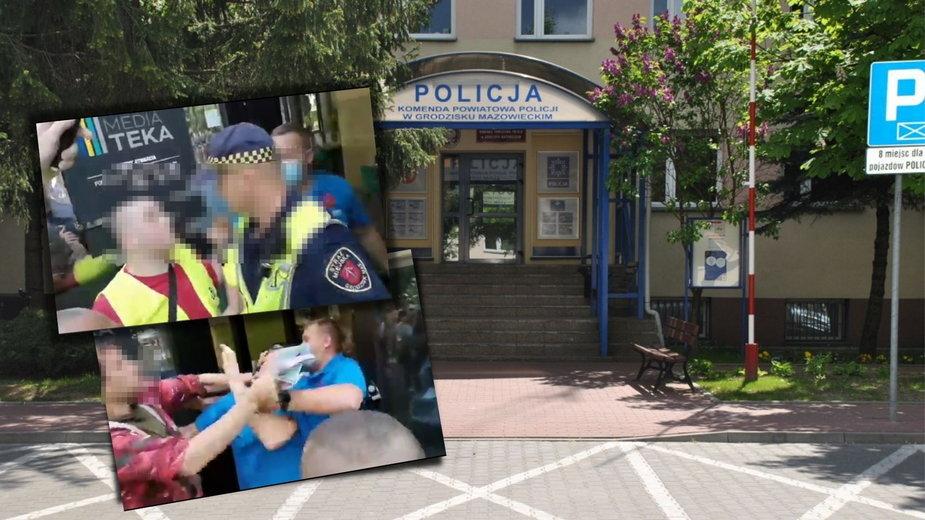 Awantura przed punktem szczepień w Grodzisku Mazowieckim, fot. KPP w Grodzisku Mazowieckim/Twitter