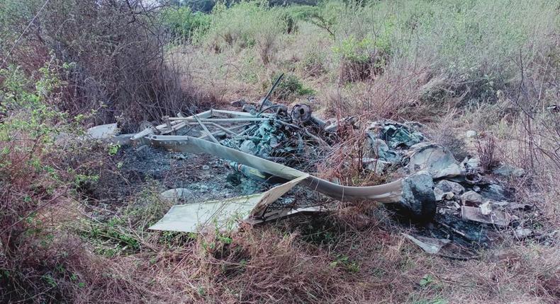 KWS gyrocopter crashes and burns in Isinya, Kajiado County