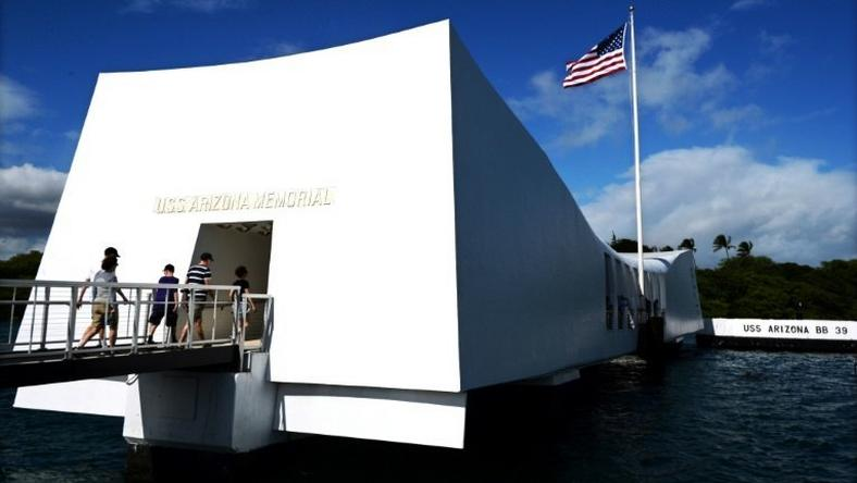 The USS Arizona Memorial, marking the resting place of the crewmen killed on December 7, 1941 when Japanese Naval Forces bombed Pearl Harbor in Hawaii