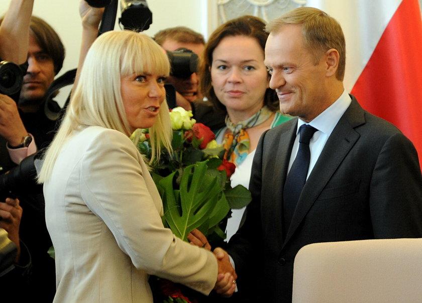 Elżbieta Bieńkowka, wicepremier i Donald Tusk, premier
