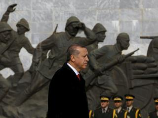 Presidential Palace handout photo shows Turkish President Erdogan attending a ceremony to mark the 1