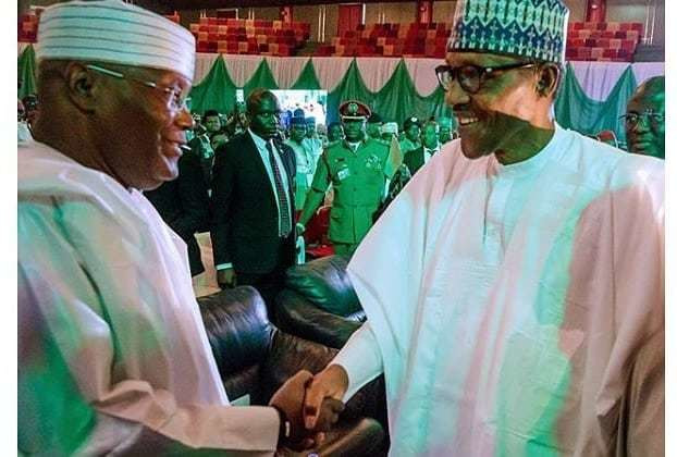 President Muhammadu Buhari meets with Atiku Abubakar his contender in the presidential poll on Saturday,February 16, 2019. [Instagram/onenigeria_]
