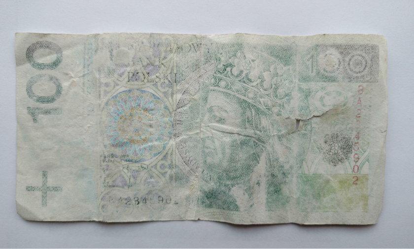 Sprany banknot 100 zł