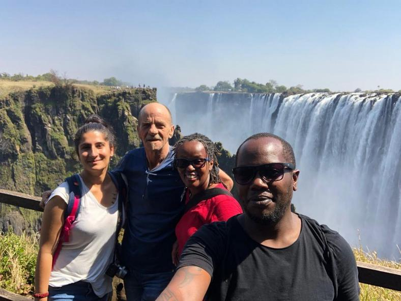 Wamuyu and Dos with friends at Victoria Falls [Throttle adventures]