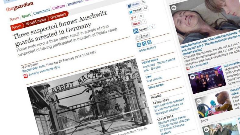 """Auschwitz według """"The Gueardian"""" to """"polski obóz"""""""