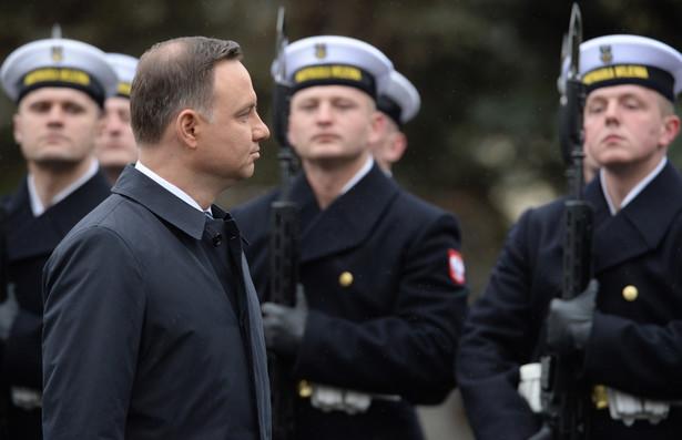 Prezydent Andrzej Duda podczas dorocznej odprawy kierowniczej kadry MON i sił zbrojnych.