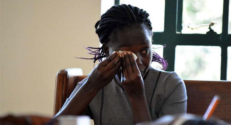 Ms Lencer Achieng', Baby Samatha Pendo's mother, testifies during an inquest