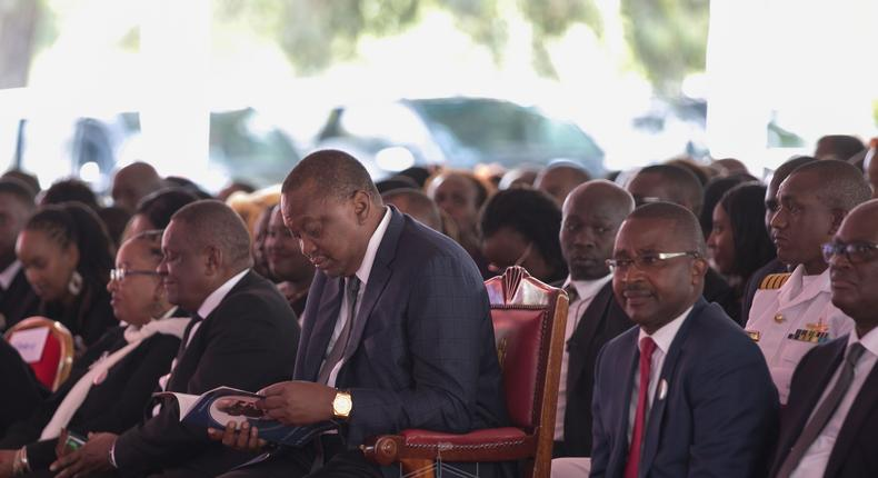 President Uhuru Kenyatta in Murang'a County during the funeral service of former Cabinet minister Charles Rubia (PSCU)