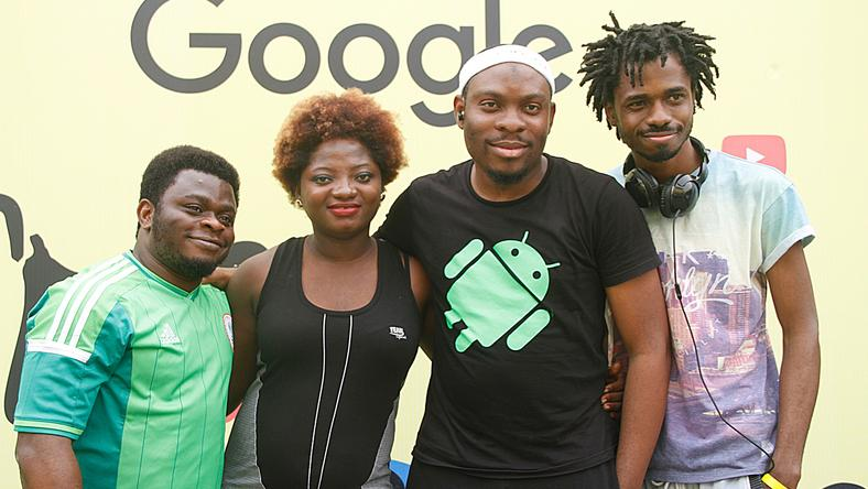 "L-R Communications & Public Relations Manager, West Africa, Google, Taiwo Kola-Ogunlade; Online Editor, Olori Supergal, Tosin Ajibade; Analytical Lead, Google, Abdulsalam Abdullateef and Editor, TechCabal, Bankole Oluwafemi during ""Get Fit with Google"" held at Bodyline Fitness and Gym, Ikoyi, Lagos on Thursday, December 3, 2015"