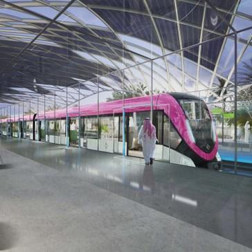 Tak ma wyglądać efekt końcowy na jednej ze stacji w Rijadzie. Pociągi z zewnątrz będą pomalowane w pasy odpowiadające kolorom linii metra.