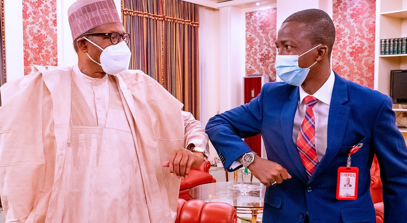 President Buhari meets new EFCC Chairman Bawa at Aso Villa