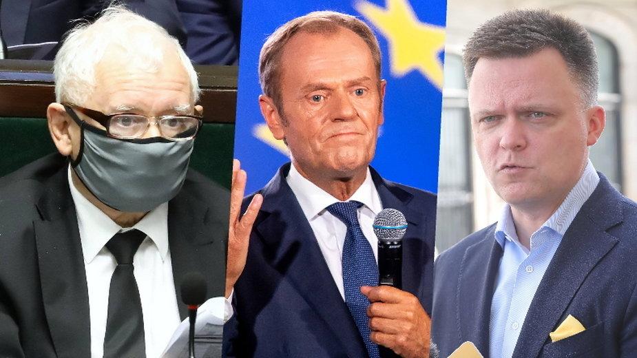 Od lewej: Jarosław Kaczyński, Donald Tusk i Szymon Hołownia