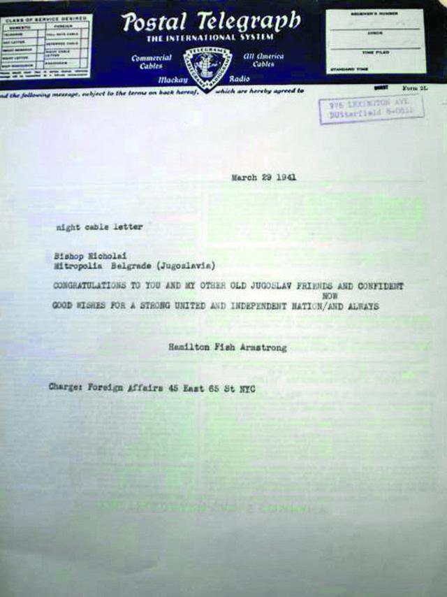 Crno na belo: Faksimil telegrama, koji je 29. marta, dva dana nakon vojnog puča, Hamilton Fiš Armstrong poslao vladiki Nikolaju Velimiroviću