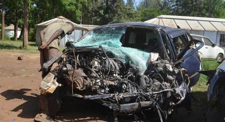 File image of the wreckage of a vehicle in which three AIPCA Bishops perished along the Mwea-Makutano road in 2017