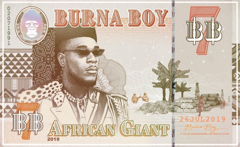 On Burna Boy's 'African Giant' album cover, he portrays himself as a pan-African leader common in the continent which started at the begiining of the 20th century (Spaceship Entertainment)