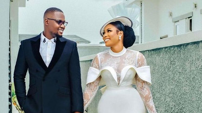 Stunning: This bride cleverly chose a knee-length wedding gown that did magic on her big day