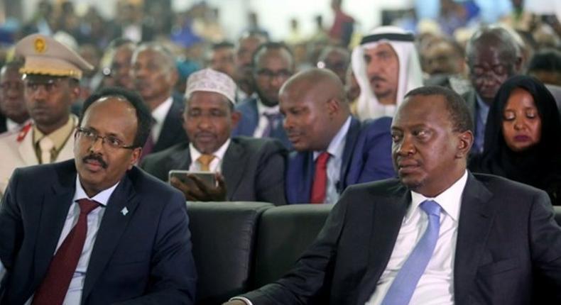 President Uhuru Kenyatta with President of Somalia Mohamed Abdullahi Farmaajo during a past event. (Twitter)