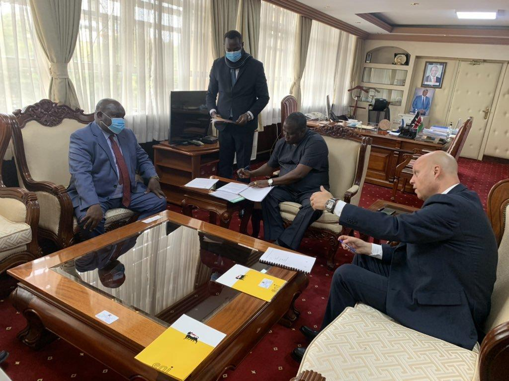 The parties at the ministries headquarters, Works Building, Nairobi revealed they will jointly conduct feasibility studies to develop waste and residue collection as well as agricultural projects.  (COURTESY: Petro_MiningKE)