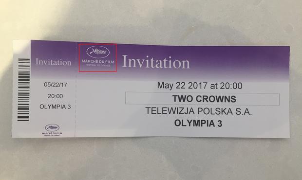 """Bilet na pokaz premierowy filmu """"Dwie Korony"""""""
