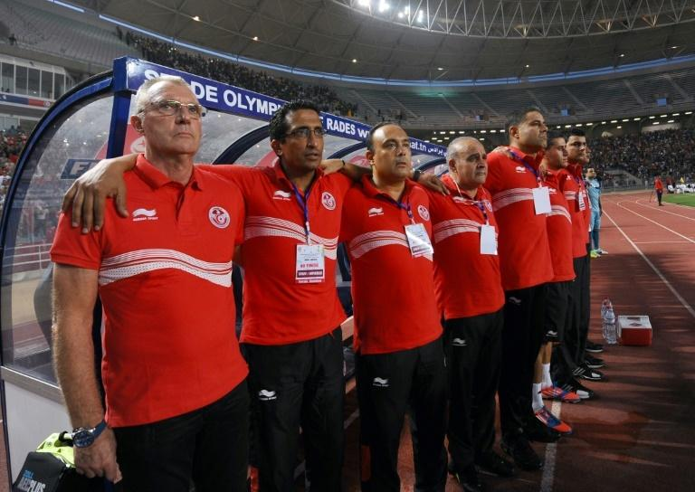 Former Dutch star Ruud Krol (L) with his assistants when he coached Tunisia. He is now in charge of CS Sfaxien, one of the top clubs in the country.