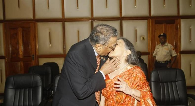 90-year old billionaire Manu Chandaria and wife Aruna formalise their marriage at Attorney General's Sheria House office