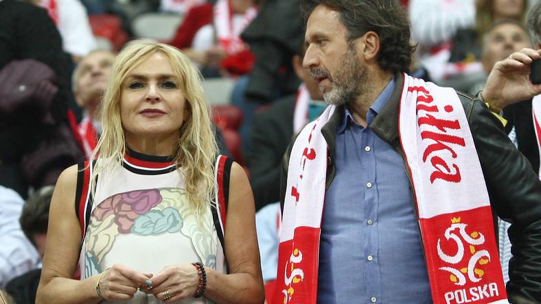 Monika Olejnik z partnerem na meczu Polska - Niemcy