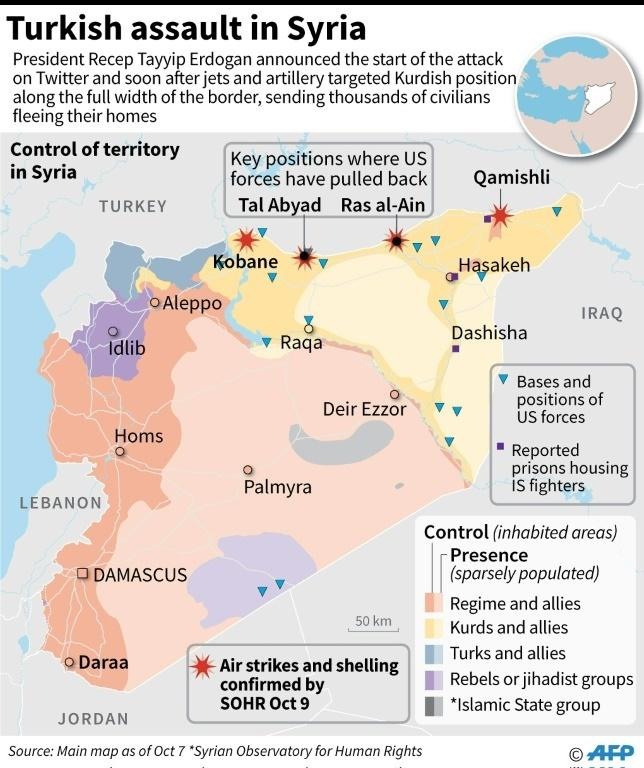 Map showing confirmed air strikes and shelling in Syria after Turkey announced an assault, plus territorial control of the country.