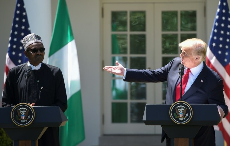 US President Donald Trump and Nigerian President Muhammadu Buhari hold a joint press conference in the Rose Garden of the White House on April 30, 2018 (Presidency)