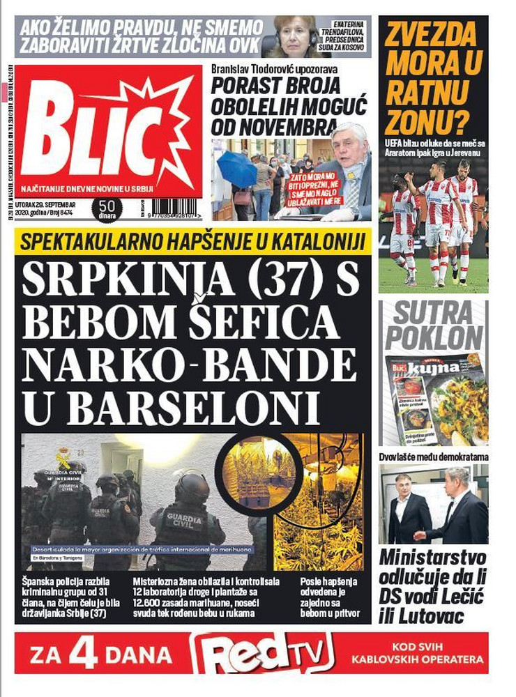 Blic, naslovna za 29.09.2020.