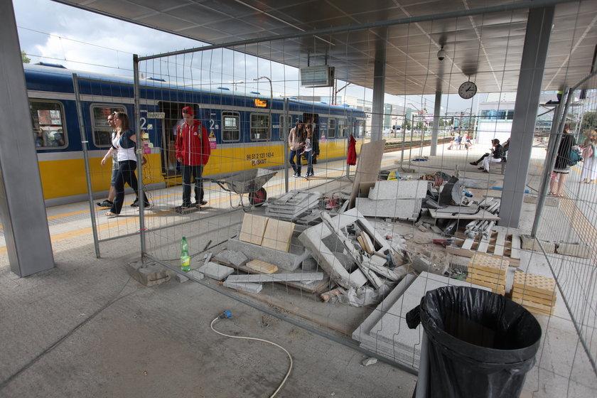 Remontowany peron dworca w Gdańsku Wrzeszczu