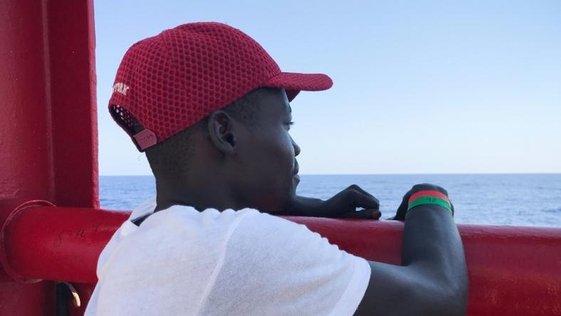 Djibril, a 24-year-old migrant from Chad, is one of more than 350 people who have been rescued in the Mediterranean by the Ocean Viking since Friday
