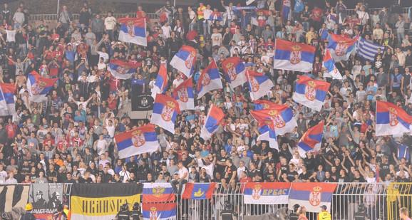 Navijači Srbije na prethodnom meču sa Albanijom u Beogradu