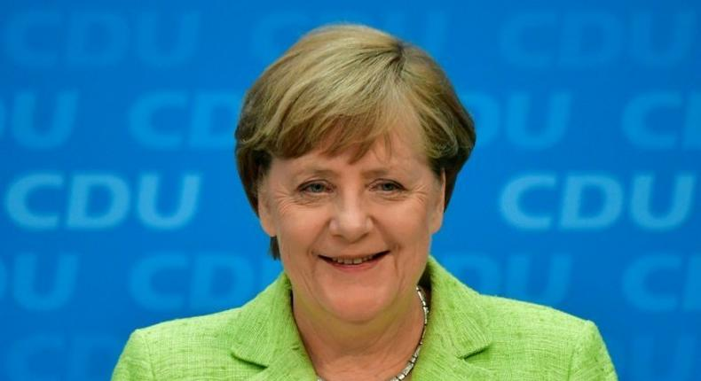 German Chancellor Angela Merkel gives a press conference in Berlin, on May 8, 2017