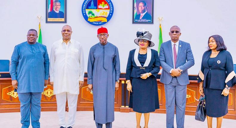 Gov Okowa swears in Justice Theresa as Acting Chief Judge of Delta on May 24, 2021