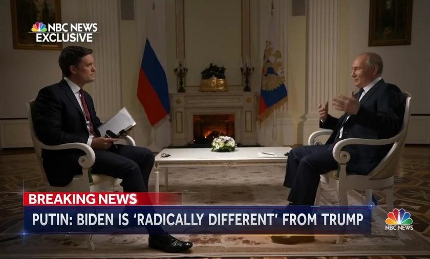 """Prezydent Rosji Władimir Putin udzielił wywiadu dla NBC. Skomentował słowa Joe Bidena, który nazwał go """"zabójcą"""""""