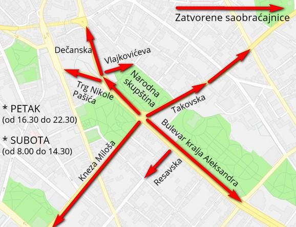 Mapa zatvorenih ulica u petak i subotu