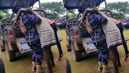 Married woman and illicit lover get stuck until her husband arrives