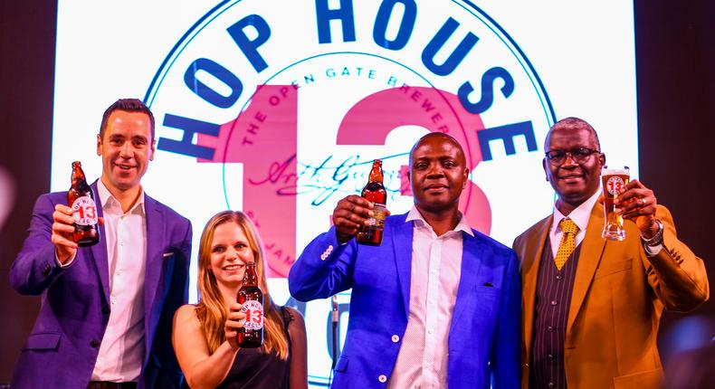 Kenya Breweries Limited (KBL) Marketing Director Graham Villiers-Tuthill (Left), Master Brewers - PeterOduor (2 nd left) & Jasmine Winterer (3 rd left) alongside Andrew Kilonzo - Sales Director (right), raise atoast during the launch of Guinness Hop House 13 at The Waterfront Karen.
