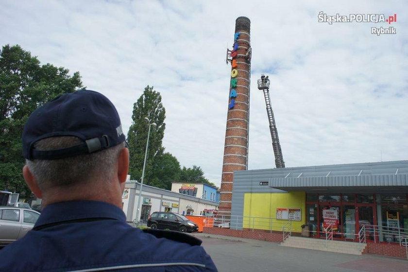 Rybnik. Ulica Marii Curie -Skłodowskiej. 33-latek wszedł na komin